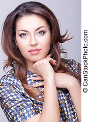 Beautiful woman portrait professional make up and hairstyle....