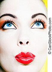 Beautiful Woman Portrait sending kiss