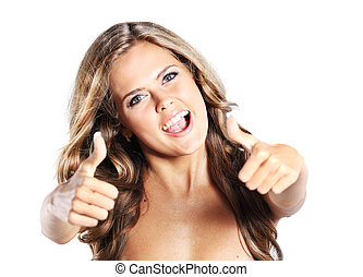 Beautiful woman portrait showing thumbs up, isolated over a white background