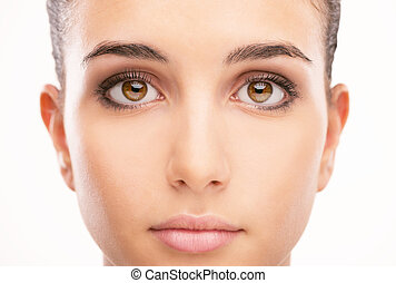 Beautiful woman portrait with clean skin