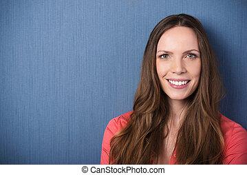 Beautiful woman portrait with copyspace
