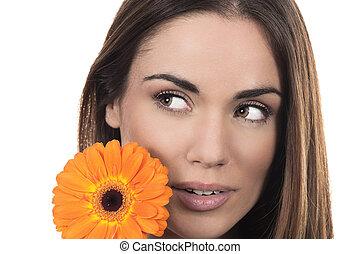 Beautiful woman portrait with flower