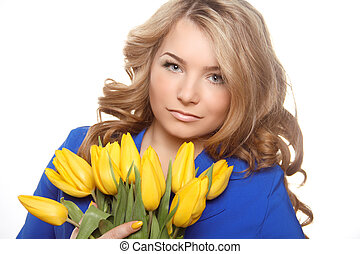 Beautiful woman portrait with tulips isolated on white background