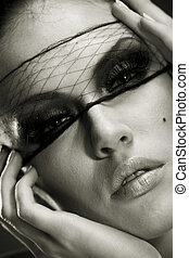 Beautiful woman portrait witha professional make-up. Skin texture saved
