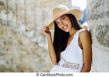 Beautiful woman posing in summer