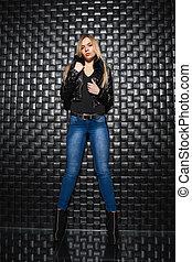 Beautiful woman posing in the studio