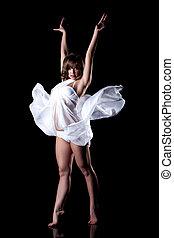 Beautiful woman posing in white lingerie