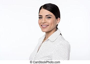 Beautiful woman posing over white