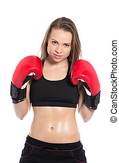 Beautiful woman posing with boxing gloves