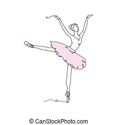 Beautiful woman. Pretty ballerina icon one line drawing, in continuous line drawing style vector illustration on white background.