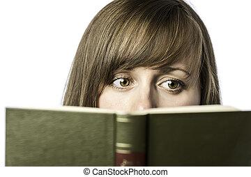 Beautiful woman reading a book