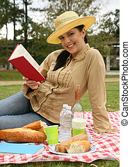 Beautiful Woman Reading Book Outdoor
