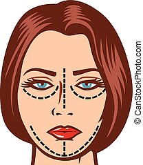 woman ready for cosmetic surgery - beautiful woman ready for...