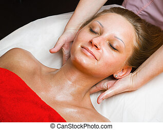 Beautiful woman receiving a massage - Beautiful woman...