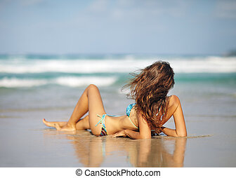 Beautiful woman relax on the beach