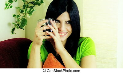 Beautiful woman relaxed with coffee