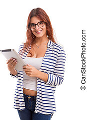 Beautiful woman relaxing with a tablet computer