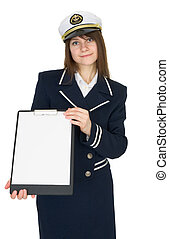 Beautiful woman - sailor isolated on a white background, with a tablet in the hands