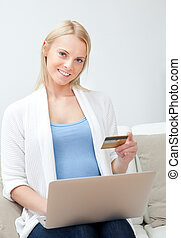 Beautiful woman shopping online