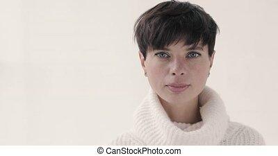 Beautiful woman short haircut White background - Beautiful...