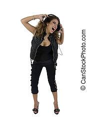 beautiful woman shouting with headphone