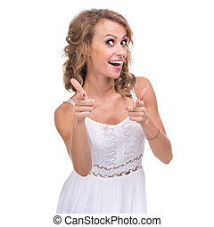 Beautiful woman showing thumbs up, isolated over a white