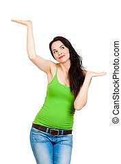 Beautiful woman showingor comparing with hands - A beautiful...