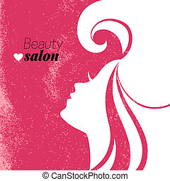 Beautiful woman silhouette. Beauty salon poster. Vector...