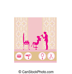 beautiful woman silhouette in barber shop