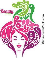 Beautiful woman silhouette. Tattoo of abstract girl hair. Nature design