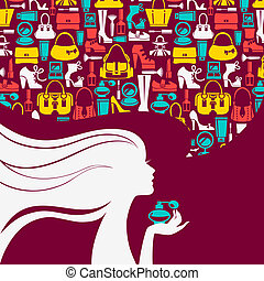 Beautiful woman silhouette with bubble of fashion icons. Shopping girl. Elegant stylish design