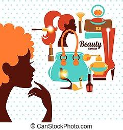 Beautiful woman silhouette with fashion icons. Shopping girl. Elegant stylish design