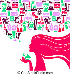 Beautiful woman silhouette with fashion icons. Shopping girl...