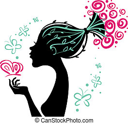 Beautiful woman silhouette with flowers and butterfly
