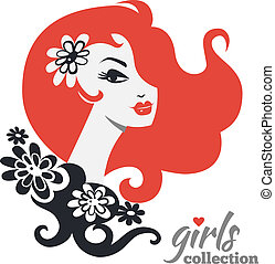 Beautiful woman silhouette with flowers. Girls collection