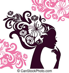 Beautiful woman silhouette with flowers