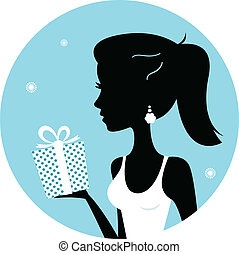 Beautiful woman silhouette with gift isolated on blue