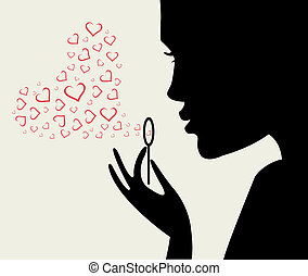 woman silhouette with heart