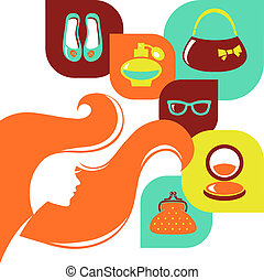 Beautiful woman silhouette with shopping icons. Stylish sale flat design