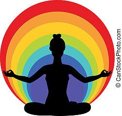 woman sitting in yoga lotus positio - Beautiful woman ...