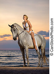 beautiful woman sitting on a horse on the beach