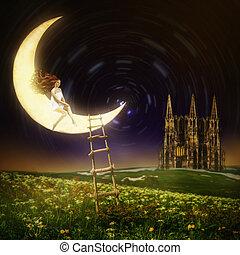 Beautiful woman sitting on moon - Wonderland. Beautiful...