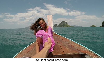Beautiful Woman Sitting On Thailand Boat Laughing Holding...