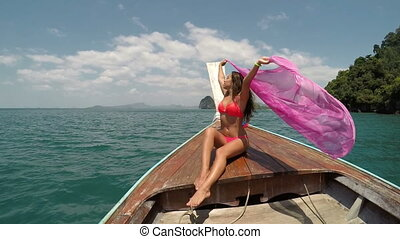 Beautiful Woman Sitting On Thailand Boat Nose Action Camera...