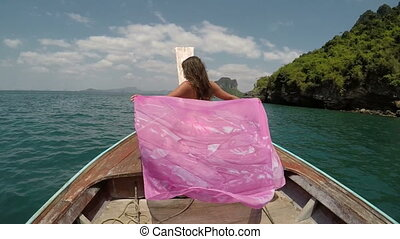 Beautiful Woman Sitting On Thailand Boat Nose Action Camera POV, Raising Hand Back Rear View Of Young Girl