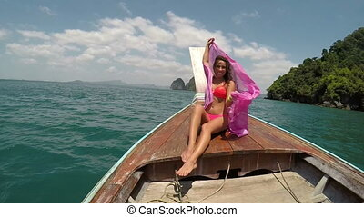 Beautiful Woman Sitting On Thailand Boat Nose Action Camera POV, Raising Pink Pareo Young Girl Happy Smiling
