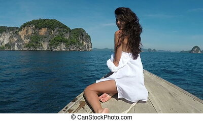 Beautiful Woman Sitting On Thailand Boat Nose In Sea Back Rear View Action Camera POV, Young Girl In White