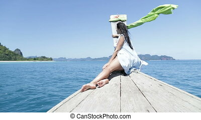 Beautiful Woman Sitting On Thailand Boat Nose In Sea Back...