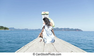 Beautiful Woman Sitting On Thailand Boat In Sea Nose Back...