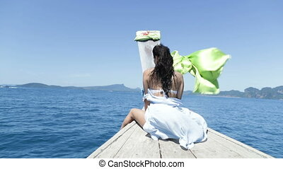 Beautiful Woman Sitting On Thailand Boat Nose, Back Rear...